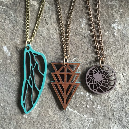 wood pendants - twisted spiral