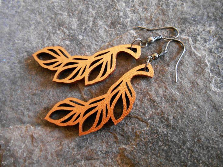 leaf earrings - twisted spiral